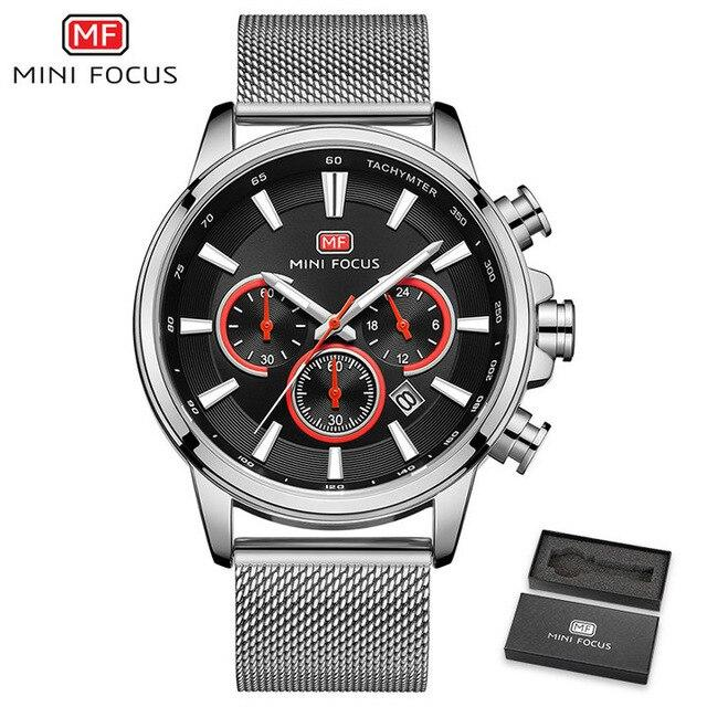 MINI FOCUS Watch 2019 Luxury Brand Watches Men Ultra Thin Quartz Clock Mesh Strap Waterproof Chronograph Fashion Dress Wristwatc-GENERO