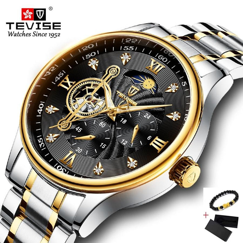 TEVISE Automatic Mechanical Watch Men Stainless-GENERO