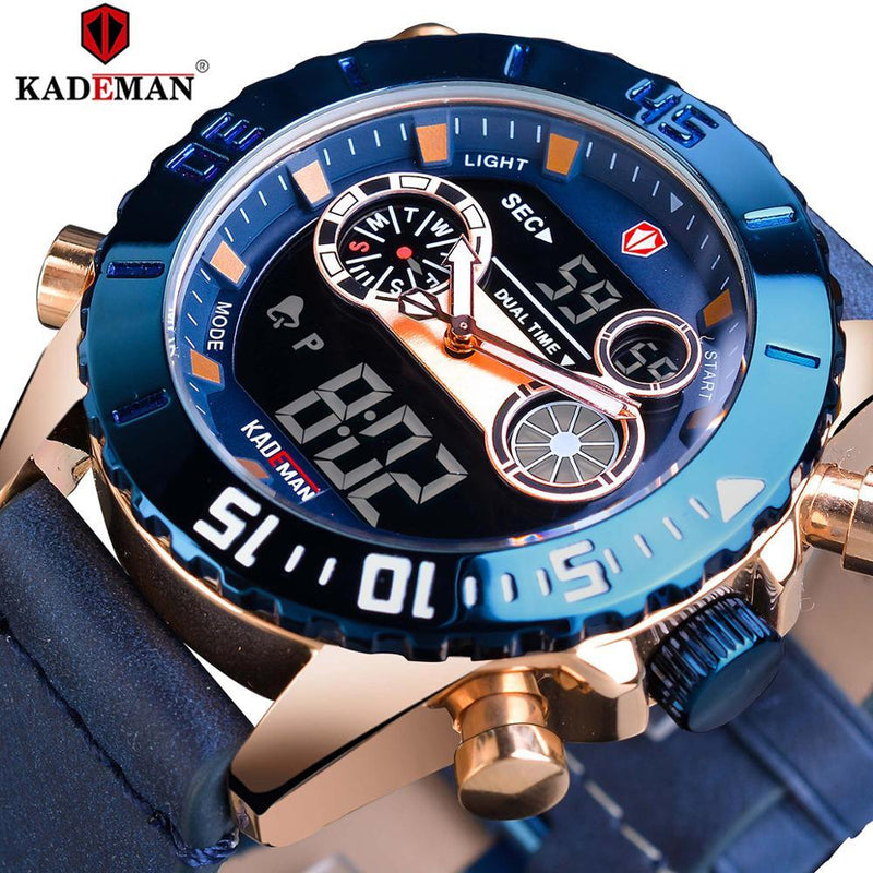 KADEMAN Fashion Mens Watch Blue Quartz Clock Digital-GENERO