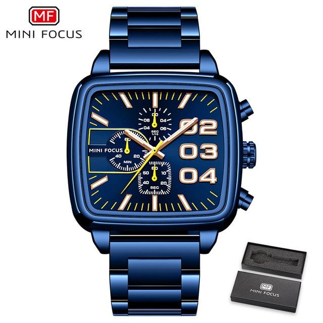 MINI FOCUS Square Watch Men 2020 Chronograph Sports Watch Business Waterproof-GENERO