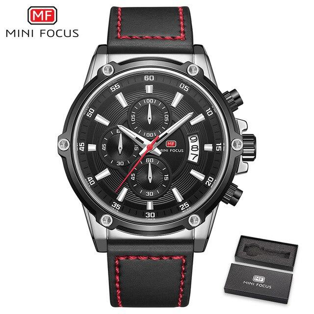 MINI FOCUS Men's Watches Chronograph Leather Strap