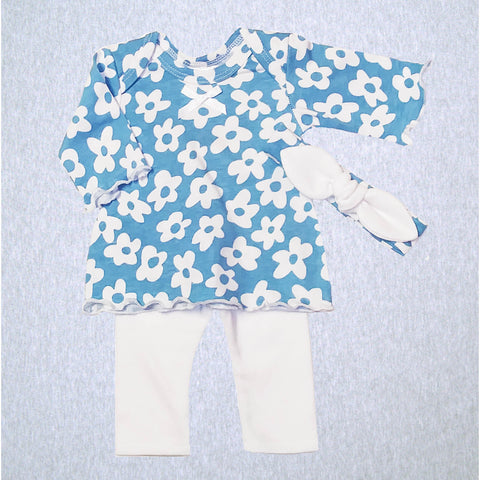 Blue Daisy Dress, Legging, Headband   #BDDL