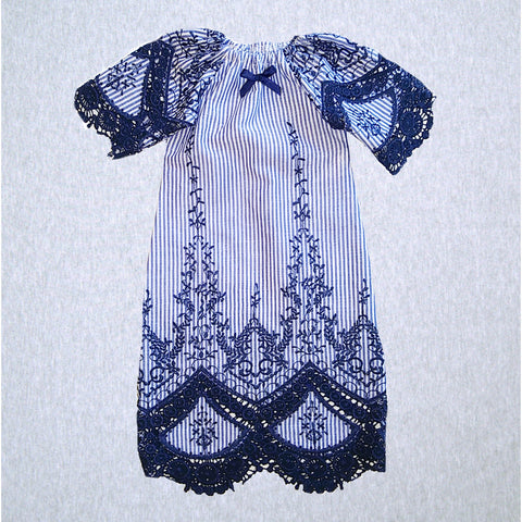 Embroidered Navy Gown  #EENG