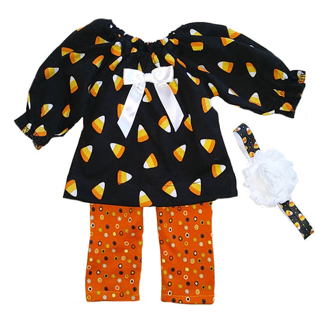 Halloween Candy Corn Top, Legging and Headband  #HWCC