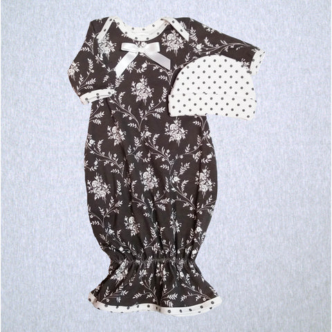 Grey Floral Dot Gown and Hat  #JDGH