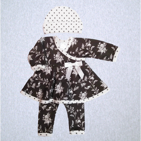 Grey Floral Dot Dress, Legging, Hat  #JDHL