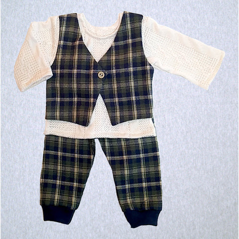 Olive Plaid Shirt/Vest and Pant  #OPVP