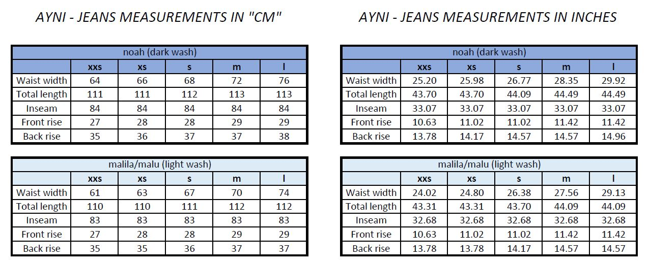 Ayni Jeans Size Chart