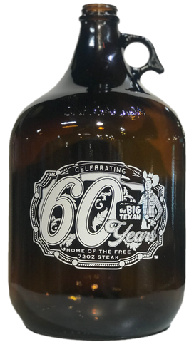 60 Year Anniversary Limited Edition Growler (Empty) - 1 Gallon - Big Texan Amarillo Food Take-Out & Delivery