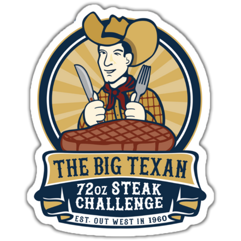 Big Texan 72oz. Steak Sticker - Big Texan Amarillo Food Take-Out & Delivery