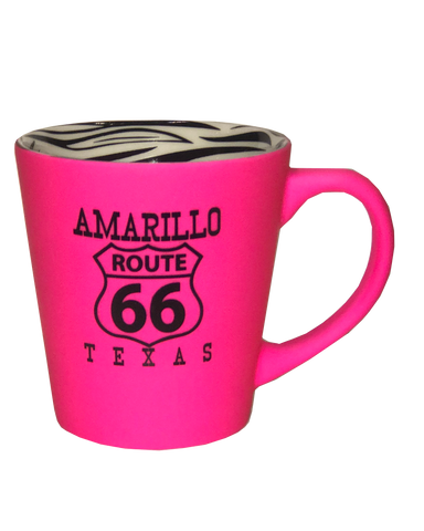 Pink & Zebra Print Amarillo Route 66 Coffee Mug - Big Texan Amarillo Food Take-Out & Delivery