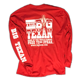 Big Texan Steak Ranch Long Sleeve Shirt-Red - Big Texan Amarillo Food Take-Out & Delivery