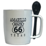 Amarillo Route 66 Coffee Mug with Attachable Stir Spoon