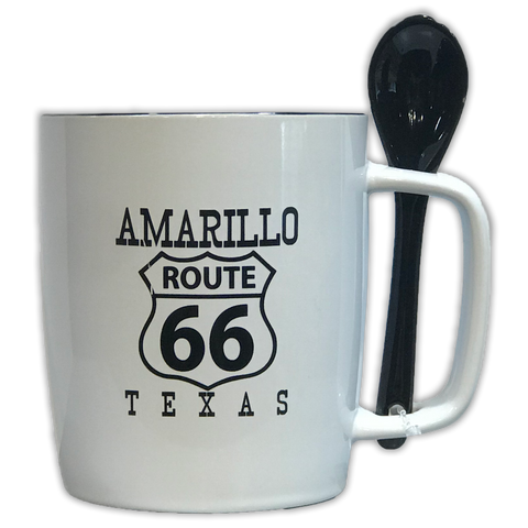 Amarillo Route 66 Coffee Mug with Attachable Stir Spoon - Big Texan Amarillo Food Take-Out & Delivery