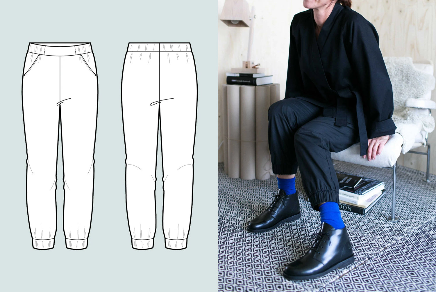 Casual ankle length trousers sewing pattern