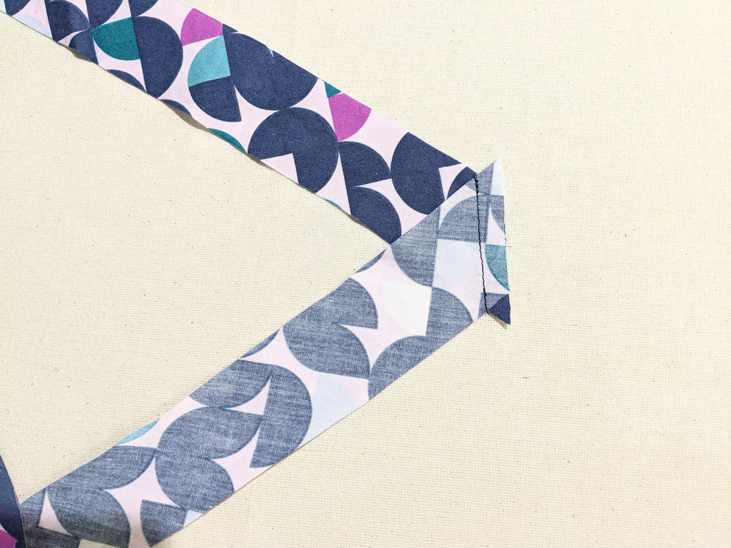 Bias tape pieces sewn together