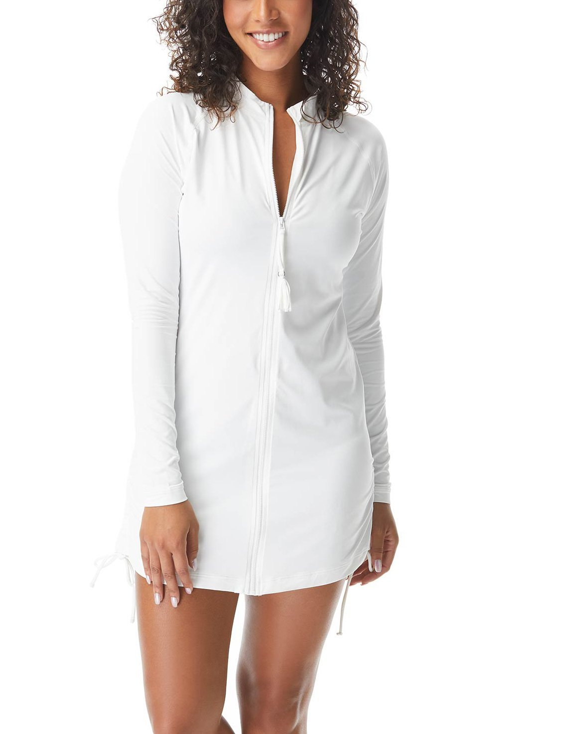 Beach House Beach Solids Interval Long Sleeve Side Tie Zip Front