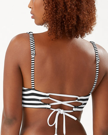 2021 Tommy Bahama Breaker Bay Stripe Underwire Lace Back Bikini Top