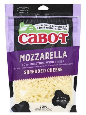 Cabot Cheese, Whole Milk, Mozzarella, Low-Moisture, Shredded