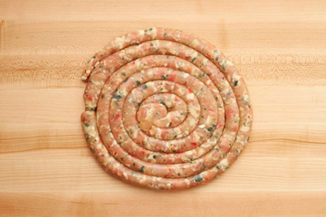 Chicken Sausage Ring W/ Fresh Red & Green Peppers, Imported Aged Provolone Cheese