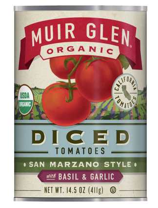 Muir Glen Organic Diced Tomatoes San Marzano Style With Basil and Garlic- 14.5 oz.