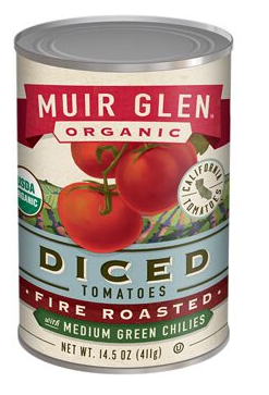 Muir Glen Organic Fire Roasted Diced Tomatoes with Medium Green Chilies- 14.5 oz.