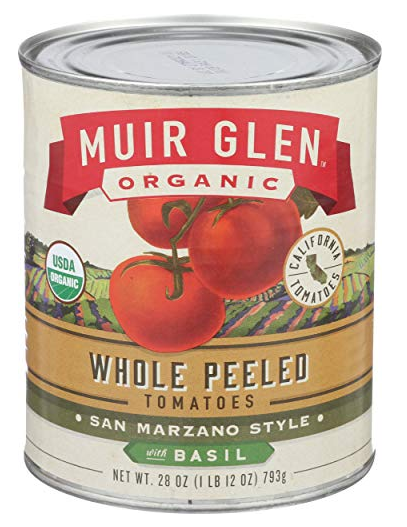 Muir Glen Organic Whole Peeled Tomatoes with Basil- 28 oz