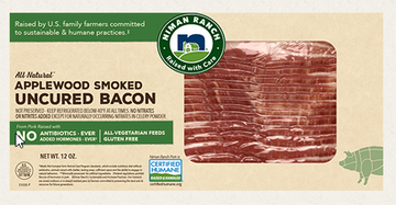 Niman Ranch Bacon, Uncured, Applewood Smoked - 12 Ounces
