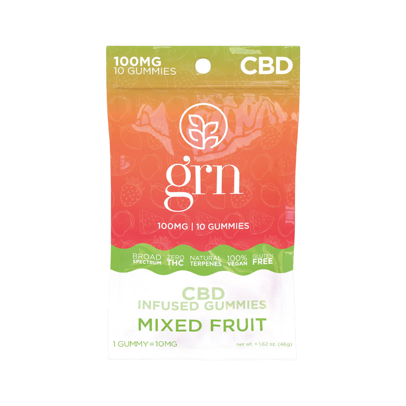 [GRN] GUMMIES AU CBD SPECTRE LARGE 10 MG -  AROMES NATURELS CITRON VERT/MANGUE/MIXED FRUIT/FRAISE/PASTEQUE
