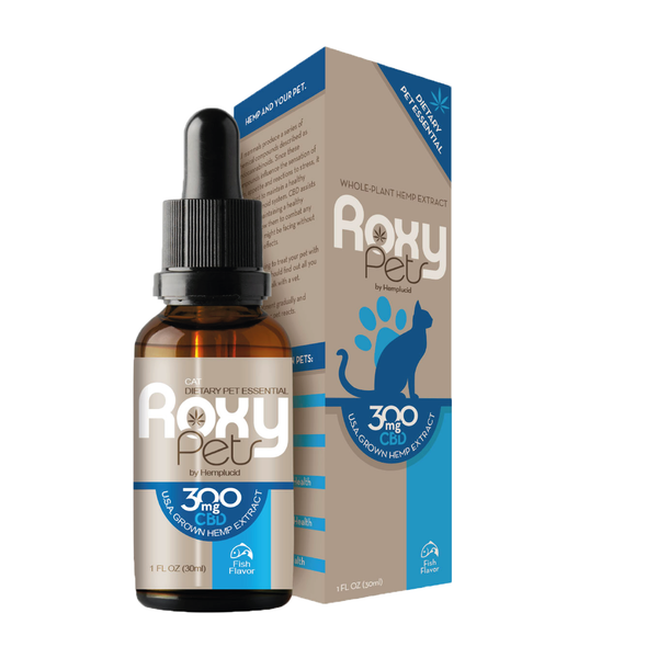 [HEMPLUCID] HUILE DE GRAINES DE CHANVRE WHOLE PLANT SPECTRE COMPLET CBD 100/300 MG - AROME NATUREL DE POISSON - ROXY PETS CATS