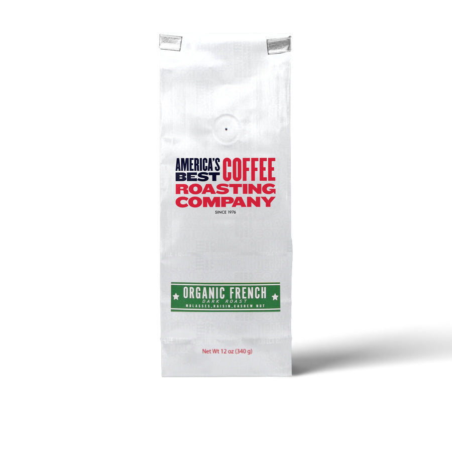 Organic French Roast that is 100% certified USDA Organic. Dark roast available in Whole Bean or Ground. Non-GMO.