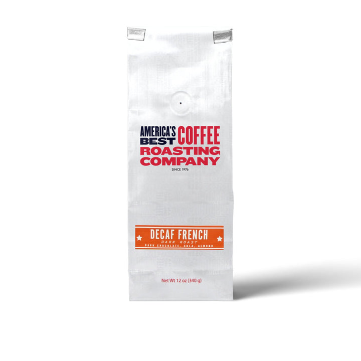 Bold Decaf French Roast made from 100% Arabica beans. Dark roast available in whole bean or ground. Non-GMO.