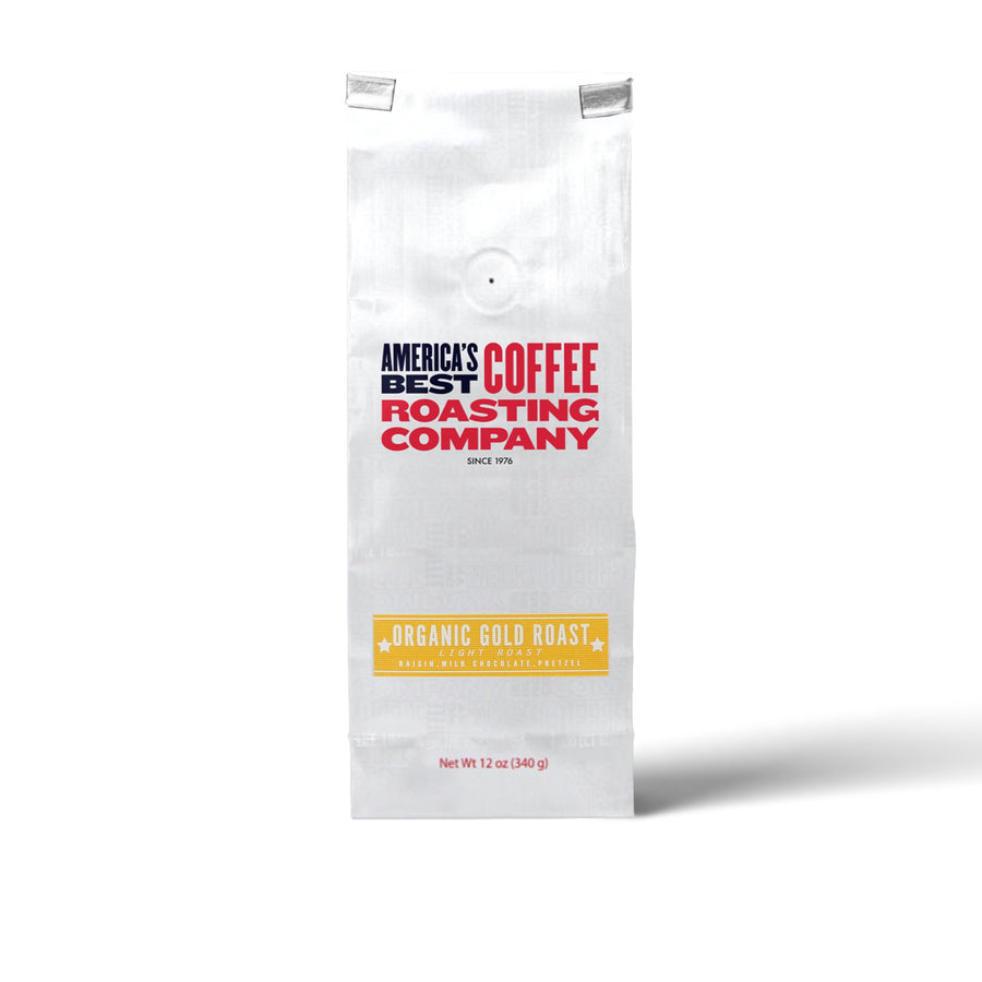 Organic Gold Roast is 100% certified USDA Organic and is light roast. Available in Whole Bean or Ground. Non-GMO.
