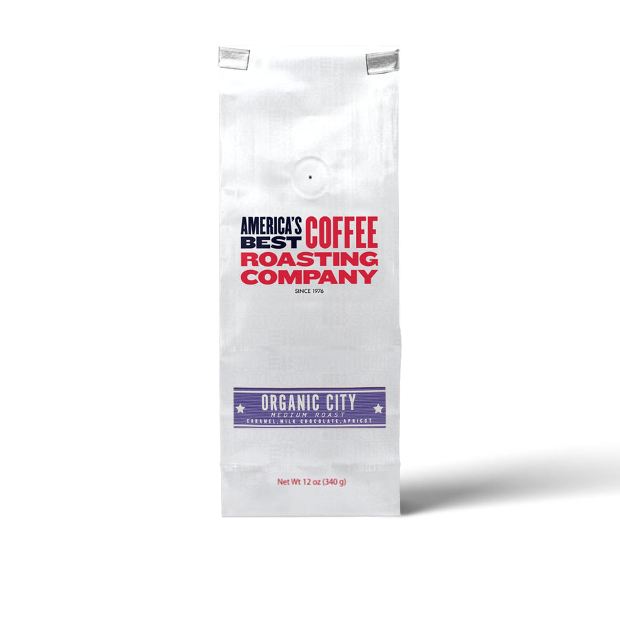 Organic City Roast that is 100% certified USDA organic and is medium roast. Available in Whole Bean or Ground. Non-GMO.