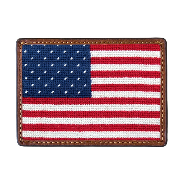Big American Flag Needlepoint Card Wallet