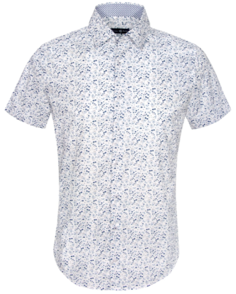 White Ditsy Print Short Sleeve Shirt