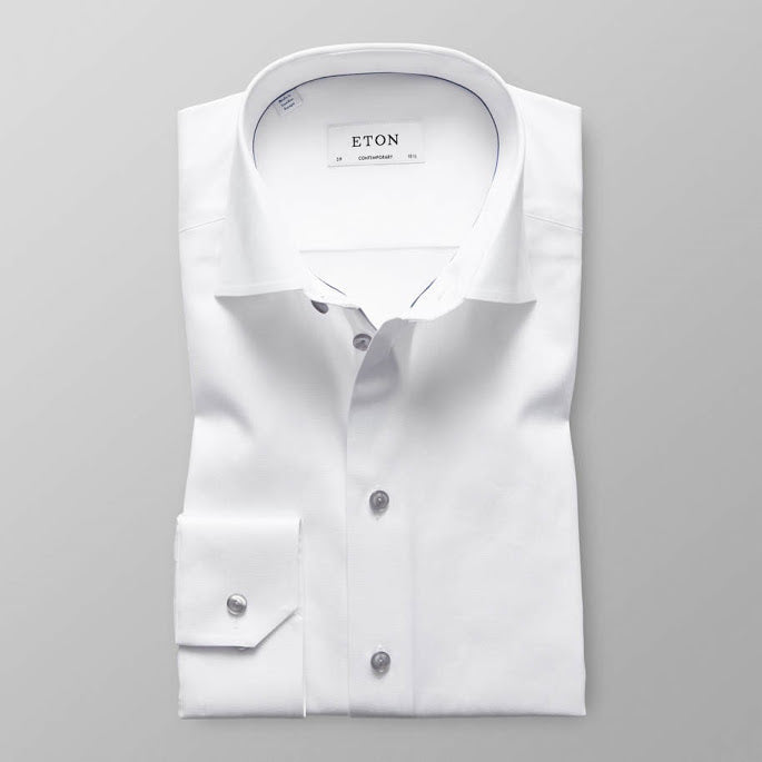 White Shirt with Grey Buttons