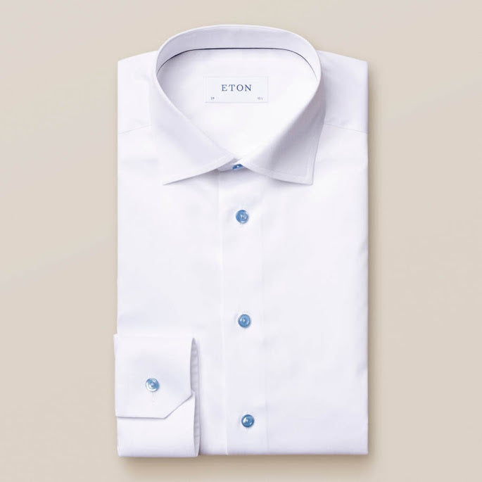 White Shirt with Blue Buttons