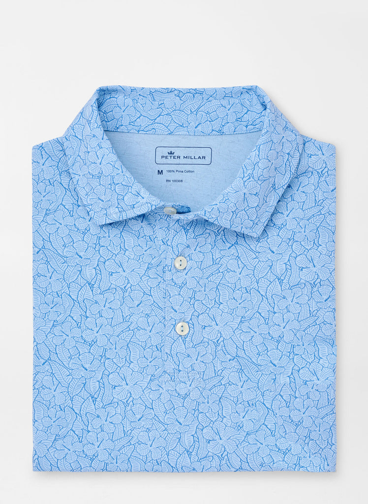 Hibiscus Jungle Aqua Cotton Polo
