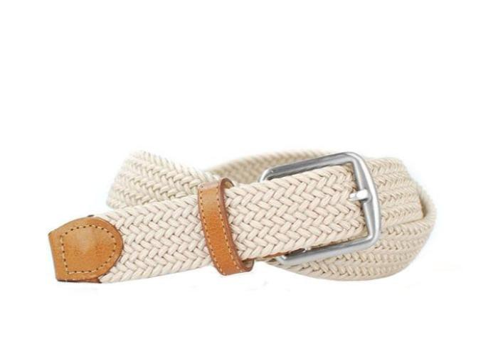 Newport Woven Italian Stretch Belt - Sand