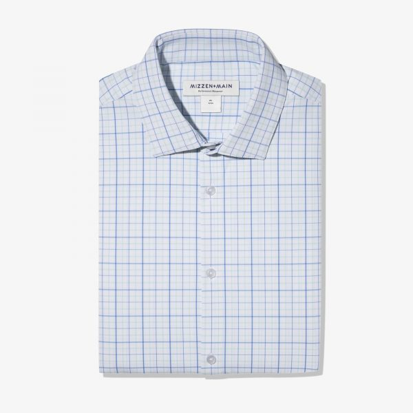 Trim Fit Aqua Blue Tattersall Shirt