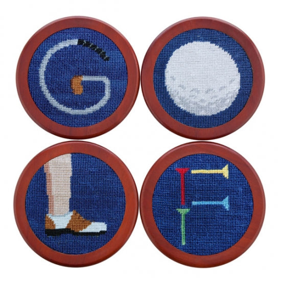 """GOLF"" Needlepoint Coaster Set"