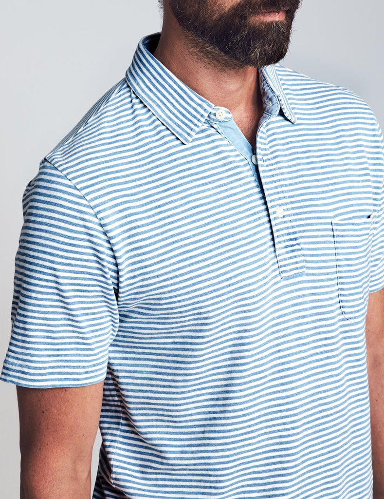 Short-Sleeve Indigo Polo