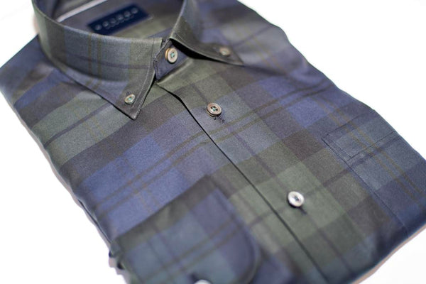Forest Green & Navy Plaid Sport Shirt