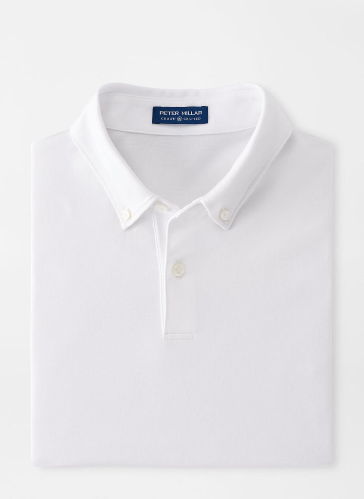 Ace Cotton-Blend Piqué Polo in White