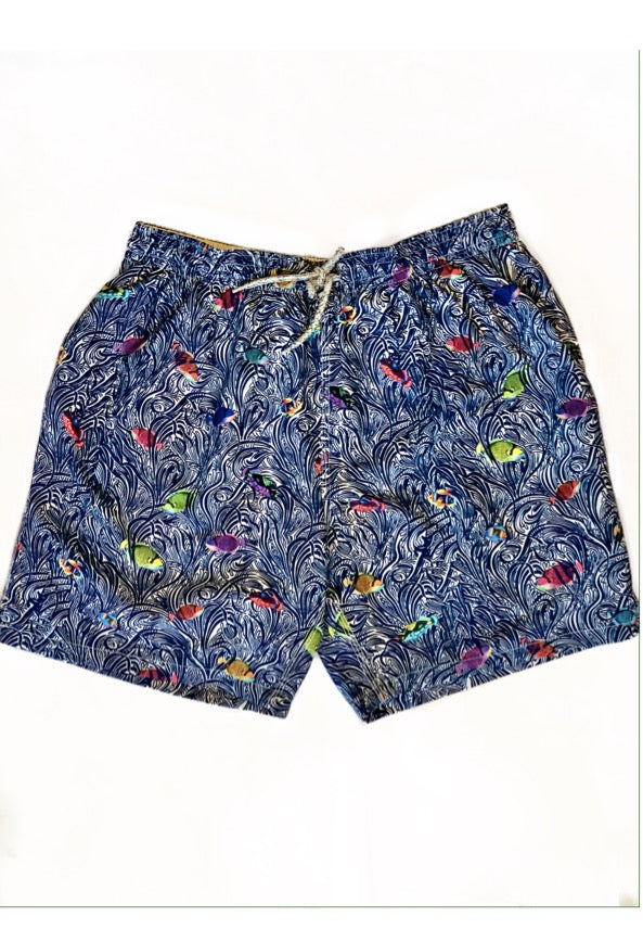 Fish & Swirls Swim Trunk