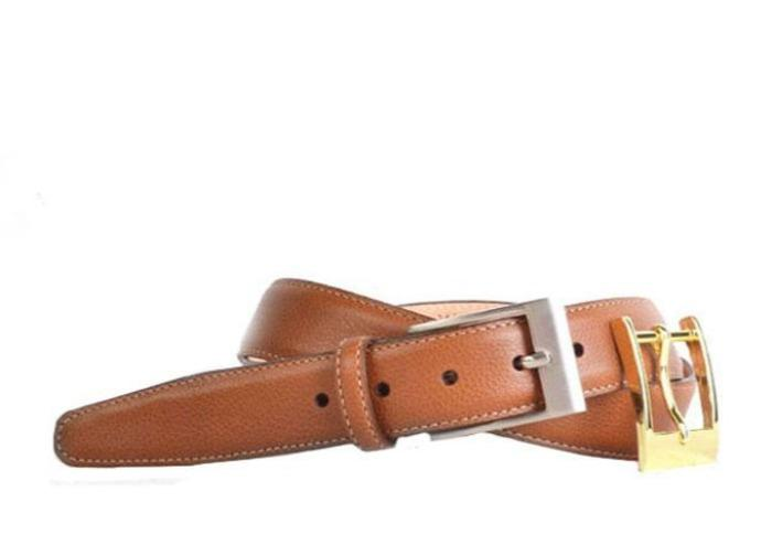 Delaney 2 Buckle Scotch Grain Leather Belt - Almond
