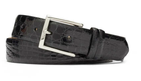 Glazed Crocodile Belt with Nickel Buckle