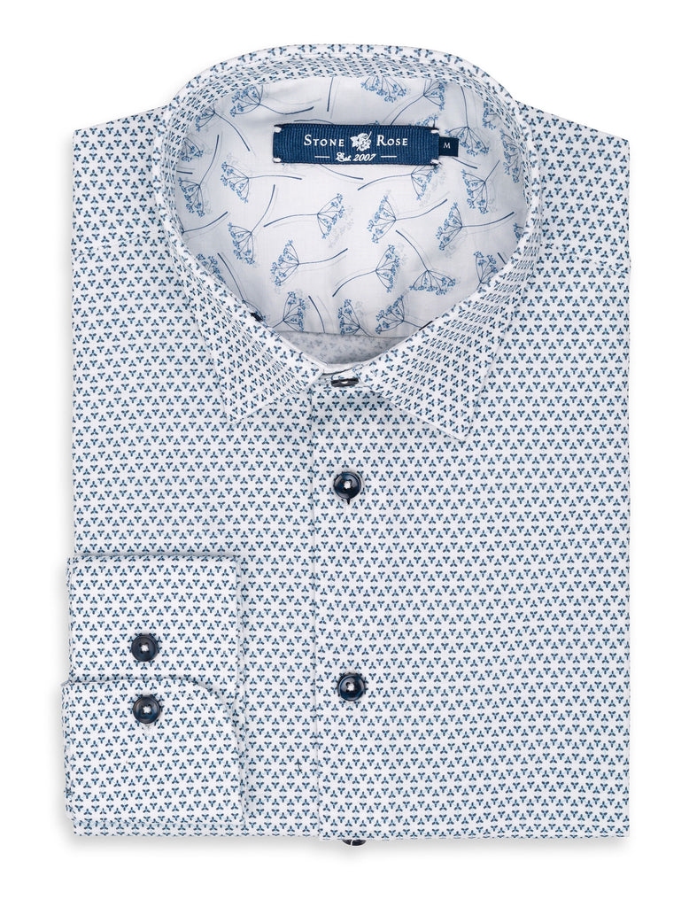 Light Blue Geometric Print Shirt