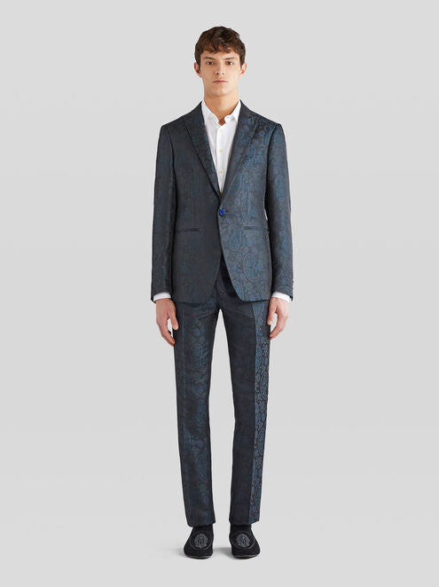 Blue Silk Jacquard Tailored Jacket